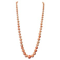 "Vintage Gump's of San Francisco Calif. 20"" pink Variegated Angel Skin Coral Necklace 45 grams"