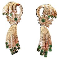 Important Regal Diamond (2.65 carats) & Emerald (2.0 carats) Dangle Ear-rings with appraisal $3,590.xx from 2007