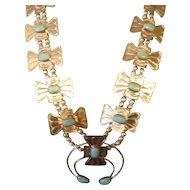 Butterfly Squash Blossom Silver Necklace With Kingman Turquoise by Premier Artist Sadie Blue Eyes