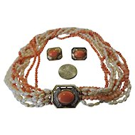 Salmon Coral, Pearl and Diamond Necklace & Earrings Matching Set WOW!