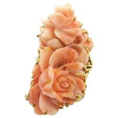 Enormous Angel Skin Coral Carved Rose Ring, Vintage, 14 Kt Gold, Fantastic!