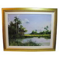 "Superb oil on canvas by Cuban artist Fidel Mico, titled ""Bohío virgen"""