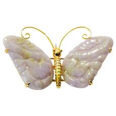 Gump's Exquisite Jadeite Butterfly Brooch/Pendant