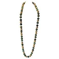 """Gump's Leaf Green Jade Jadeite and 14K Gold 27"""" Necklace"""