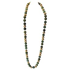 "Gump's Leaf Green Jade Jadeite and 14K Gold 27"" Necklace"