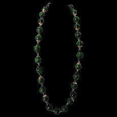 Jade Jadeite Vintage 14K Chinese Necklace with Pierced Hollowed Green Beads