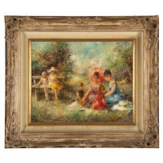 Eva Makk impressionistic oil on canvas of 6 youths enjoying a summer outing