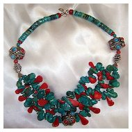 Coral & Turquoise Beads : Tibetan Teardrops
