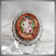 Vintage Pietra Dura Brooch Cameo Victorian Micro Mosaic Floral in Goldstone Silver Cannetille