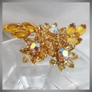 Vintage Juliana Brooch. D&E. Delizza and Elster. Yellow Rhinestones. AB
