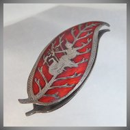 Vintage Siam Sterling Silver Leaf Brooch. Red Guilloche Enamel. Niello.