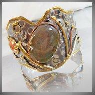 Vintage Brutalist Bracelet. Moss Agate. Silver. Copper. Brass. One of a Kind.