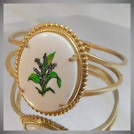 Vintage Lily of the Valley Flower Bracelet. Gold. Clamper. Cameo. May.