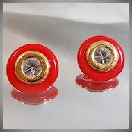 Vintage KJL Earrings. Interchangeable. Kenneth Jay Lane. Rhinestones. Goldtone. Red Lucite.