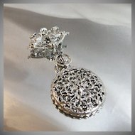 Vintage Judy Lee Brooch. Silver Tone. Dual Dragons. Dangling Faux Pocket Watch. Victorian Revival.