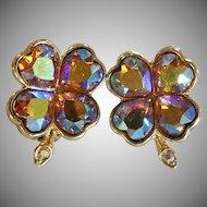 Vintage Weiss Rhinestone Earrings. Shamrocks. 4 Leaf Clover. AB Rhinestones. Purple Gold.