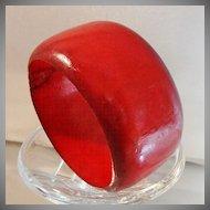 Vintage Red Wood Bracelet. Wide. Ombre. Dark Red. Wooden Bangle.