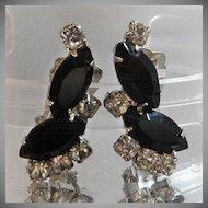 Vintage Rhinestone Earrings. Clear Black Rhinestones. Showstoppers. Prom Earrings.