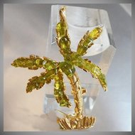 Vintage Swoboda Palm Tree Brooch. Genuine Peridot. Tropical Palm Tree Pin.