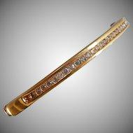 Vintage Channel Set Rhinestone Bracelet. Gold Plated. Hinged Clamper. Roman.