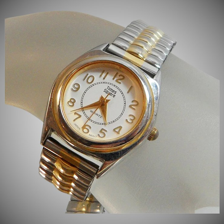 Vintage Times Square Watch Ladies Gold and Silver Tone White Face