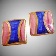 Vintage Porcelain Earrings. Blue Pink Gold. Geometric. Metallic.