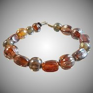 Vintage Art Glass Bracelet. Carnival Glass Beads. AB Coated Bead Bracelet.