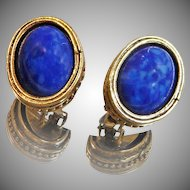 Vintage Blue Lapis Lazuli Earrings. Glass Faux Lapis Lazuli Earrings.