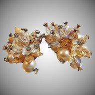 Vintage Vendome Crystal Earrings. Gold Leaves. Faux Pearls. Rhinestones.