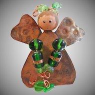 Vintage Copper Art Glass Angel Brooch. Folk Art Copper Pin. Green Art Glass Beads. Handpainted Angel Pin. Christmas Pin. Holiday.