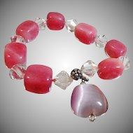 Vintage Pink Purple Glass Moonglow Bracelet. Purple Teardrop Moonglow Bead. Pink Glass Clear Bicone Crystal Beads.