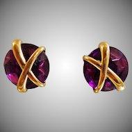 Vintage Purple Rhinestone Earrings. Gold X Purple Button Earrings.