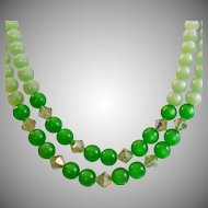 Vintage Green Moonglow Necklace. Mint Green and Kelly Green Moonglow Beads with Austrian Crystals
