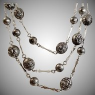 Vintage Gunmetal Gray and Textured Silver Beaded Necklace. Western Germany. Three Strands.