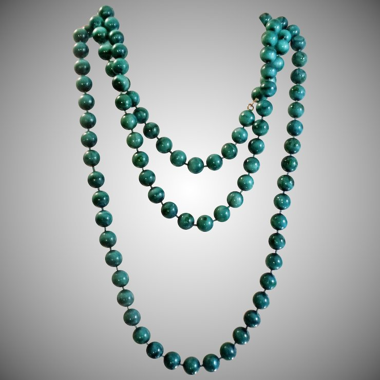 Vintage Teal Green Painted Beads Necklace. Extra Long Single ...