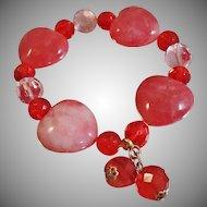 Vintage Pink Red Glass Heart Bracelet. Marbled Pink, Red and Clear Glass Heart Bead Bracelet.