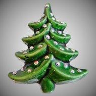 Vintage Christmas Tree Brooch. Green Glazed Porcelain Christmas Tree with AB Rhinestones Pin. Holiday Brooch.