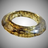 Vintage Chunky Faceted Lucite Bracelet. Smoky Green Gray Heavy Bangle.