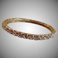 Vintage Rhinestone Bracelet. Gold Tone Prong Set Clear Rhinestones Bangle.
