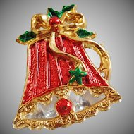 Vintage Red Bell Brooch. Red Green Gold Christmas Bell Pin. Holiday Bell Brooch.