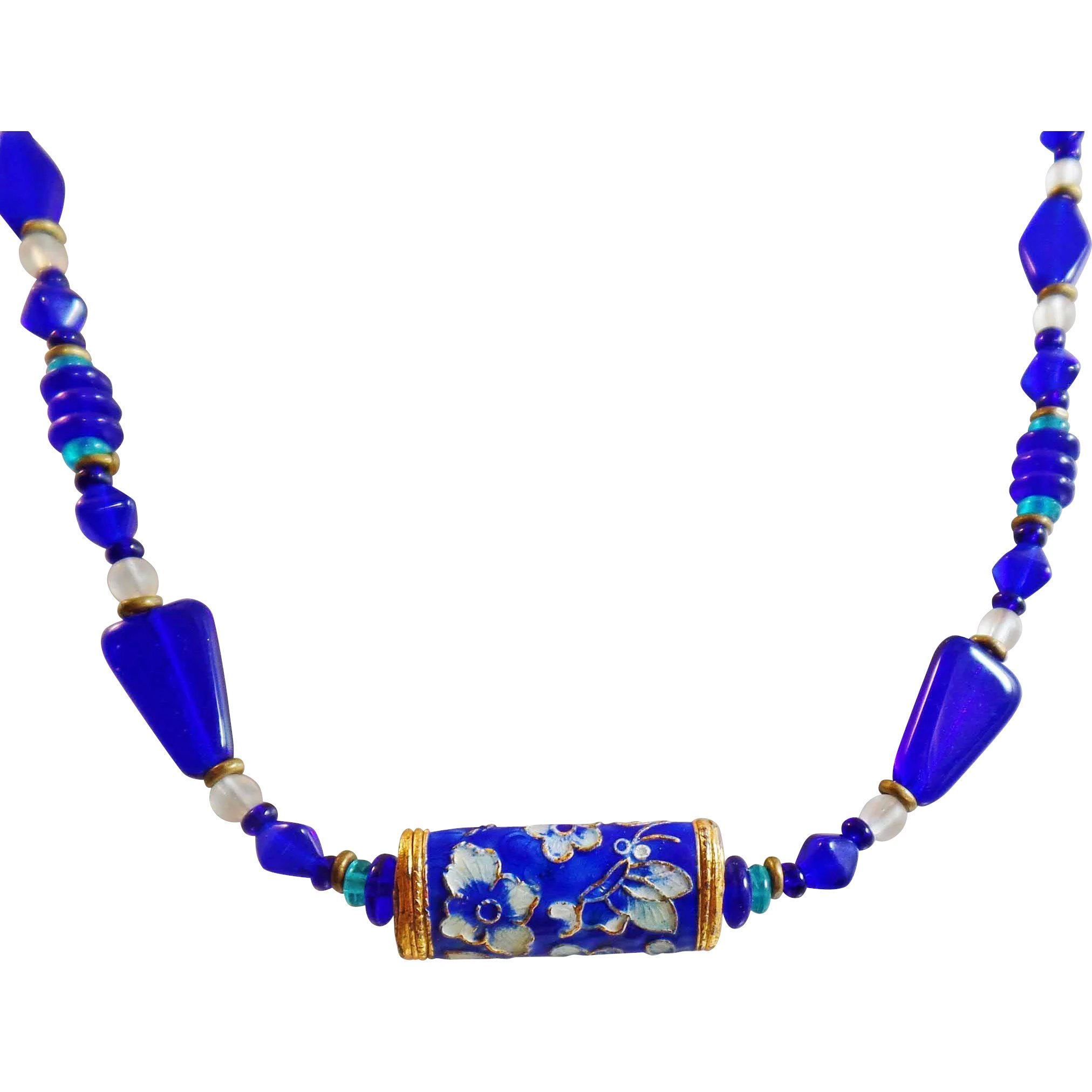 bluenecklace mens lapis shop beaded necklace cobalt blue zicana jewelry