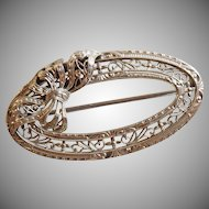 Vintage Edwardian White Gold Krementz Brooch. Filigree Bow Oval Pin. 14k White Gold.