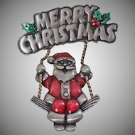 Vintage Pewter Santa on a Swing Brooch. Spoontiques Merry Christmas Enamel Pewter Swinging Santa Claus Pin. Holiday Pin