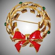 Vintage Big Red Bow Green Rhinestone Christmas Wreath Brooch. AAI. Shiny Gold Green Rhinestone Red Bow Wreath Pin. Holiday.