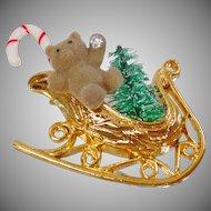 Vintage Teddy Bear Christmas Sleigh Brooch. Fuzzy Bear Candy Cane Christmas Tree Rhinestone Pin. Christmas Brooch. Holiday Pin.