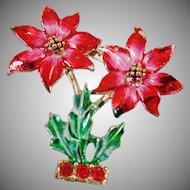 Vintage Handpainted Rhinestone Poinsettia Brooch. BJ Beatrix. Vintage Christmas Poinsettia Flowers Pin.