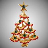 Vintage Red Green Rhinestone Christmas Tree Brooch. Red Garland Green Rhinestone Christmas Tree Pin. Holiday.