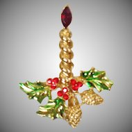 Vintage Rhinestone Candlestick Brooch. Red Rhinestone Pine Holly Candle Stick Pin. Christmas Brooch. Holiday Pin.