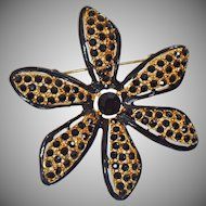 Vintage Pell Black Gold Flower Brooc 24k Gold Plated Black Rhinestones Black Enamel Flower Pin by Pell