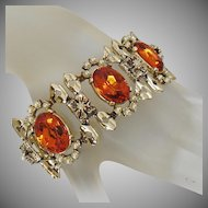 Vintage Golden Amber Rhinestone and Pearl Bracelet. Heavy Mid Century Rhinestone Pearl Bracelet.